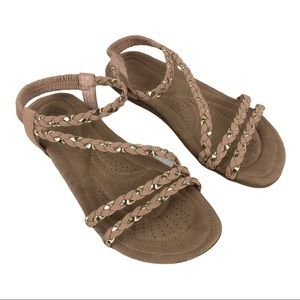 Nicole Gold & Tan Braid Sandal, Cushioned Sole
